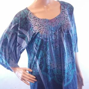 Apt 9 3/4 sleeve jeweled blue green comfortable XL